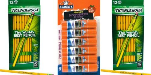 Target.com: Ticonderoga #2 Wooden Pencils 12ct & Elmer's Washable School Glue Sticks 6ct Just $0.99