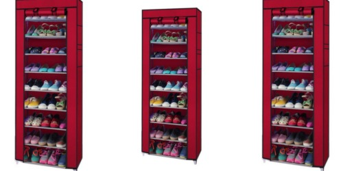10-Tier Shoe Rack Closet Organizer Cabinet with Cover Only $14.99 Shipped