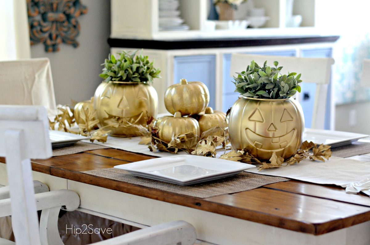 Spray Painted Dollar Store Pumpkins for Fall
