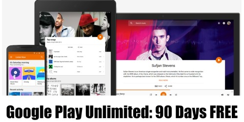 Google Play Unlimited: FREE 90-Day Subscription (On-Demand/Ad-Free Access to 35 Million Songs)