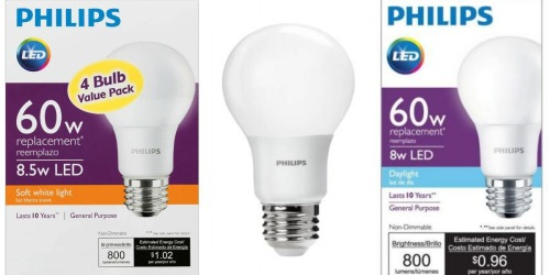 Home Depot: Philips LED Light Bulb 4-Pack Only $7.97 (Bulbs Last 10 Years)