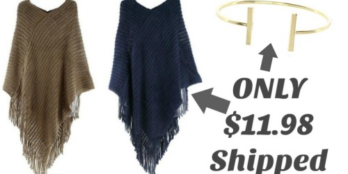 Cents of Style Knitted Poncho AND Bracelet UNDER $12 Shipped + More
