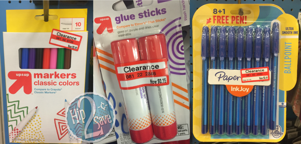 up & up markers, glue sticks and pens