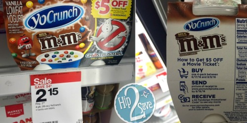 Target: TWO YoCrunch Yogurt 4-Packs + TWO $5 Fandango Movie Codes Just $2.30 After Ibotta