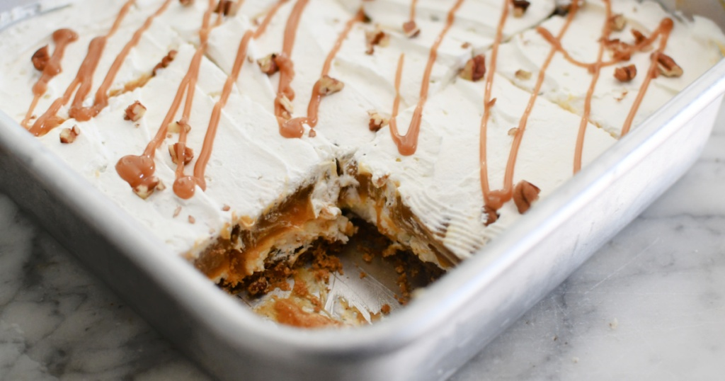 4 layer pumpkin dessert in a square pan