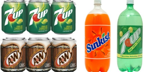Rare $1/2 Soda Coupon = 7 Up, A&W, Sunkist, Canada Dry 2-Liters Only 50¢ at Walgreens