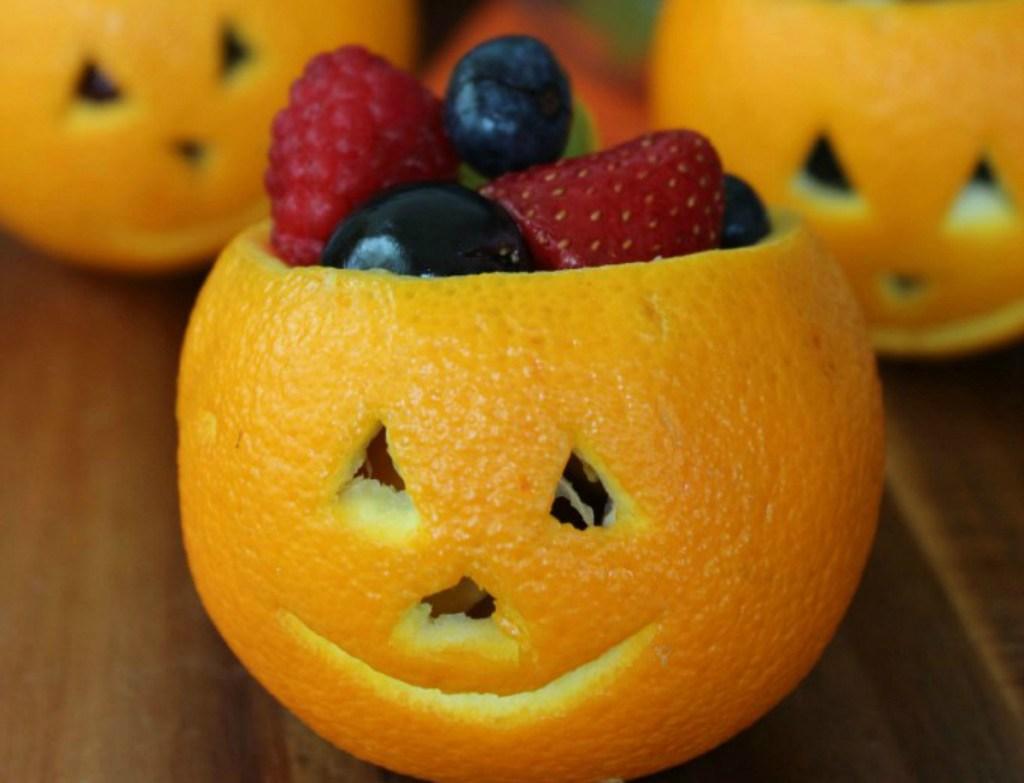 Orange Jack-O-Lantern Fruit Bowls