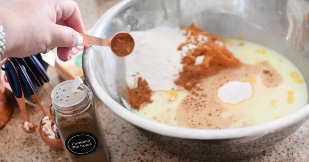 adding pumpkin pie spice