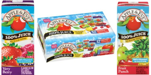 Amazon: Apple & Eve 100% Juice Variety Pack 32 Count Only $7.58 Shipped (Just 24¢ Per Juice Box)