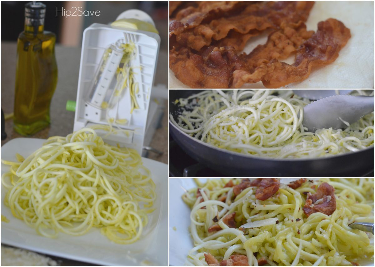 Bacon Cacioepepe with Sqash Noodles