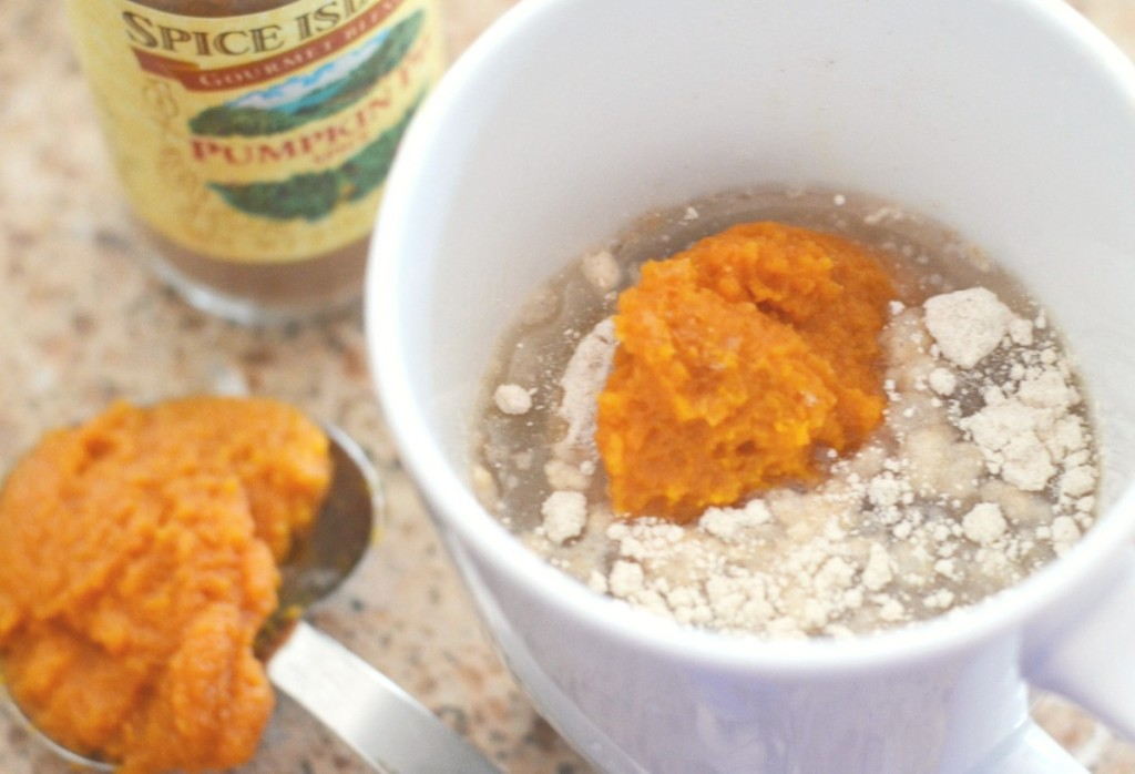 ingredients for pumpkin spice mug cake in mug