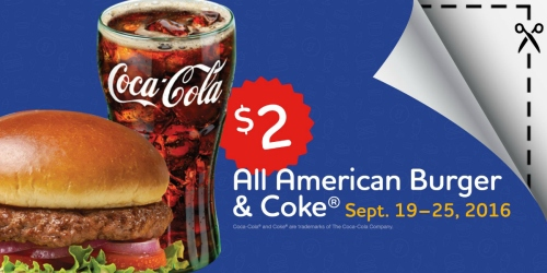 Friendly's Restaurant: All American Burger AND Coke Just $2 – Select Locations Only