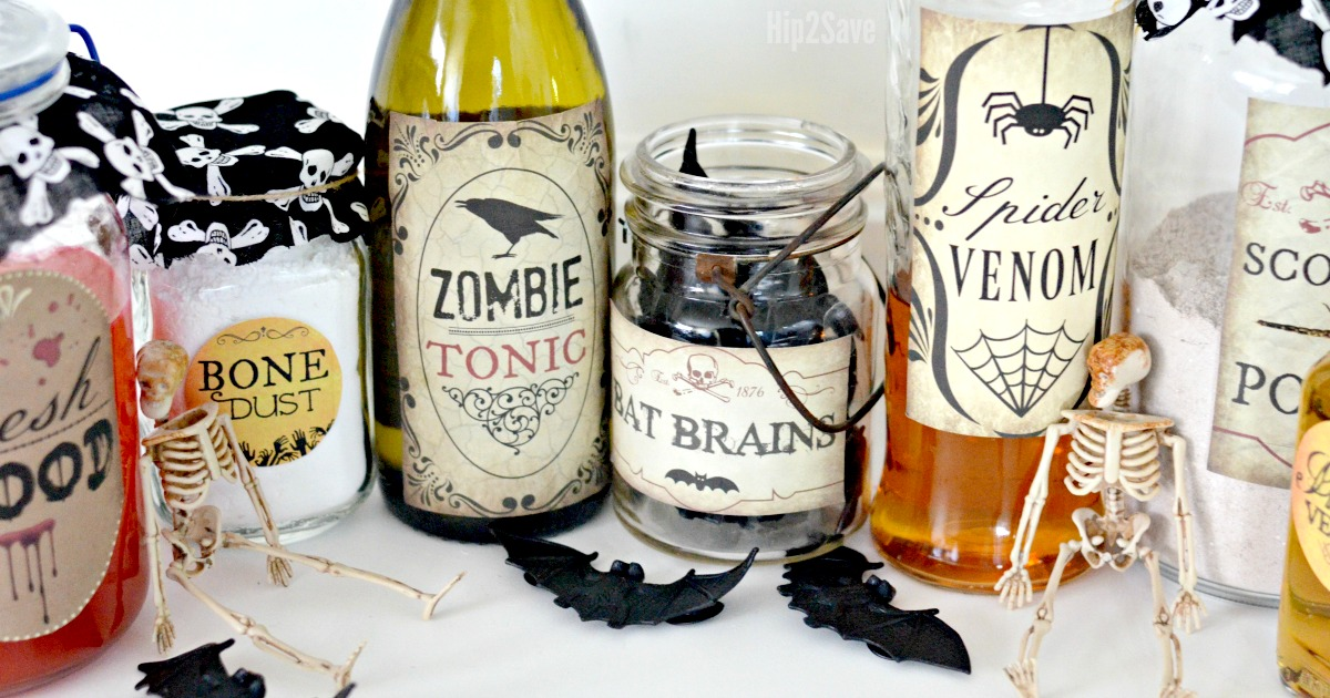 photo about Free Printable Labels for Bottles called Produce Spooky Halloween Potion Bottles with Our 10 Cost-free