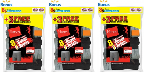 Walmart.com: Hanes Boy's Exposed Waistband Boxer Brief 8-Pack Just $8.50 (Only $1.06 Per Pair)