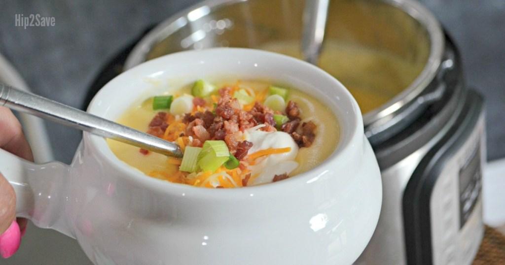 baked potato soup in white bowl