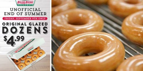 Krispy Kreme Original Glazed Doughnuts ONLY $4.99 Per Dozen at Select Locations (September 9th)