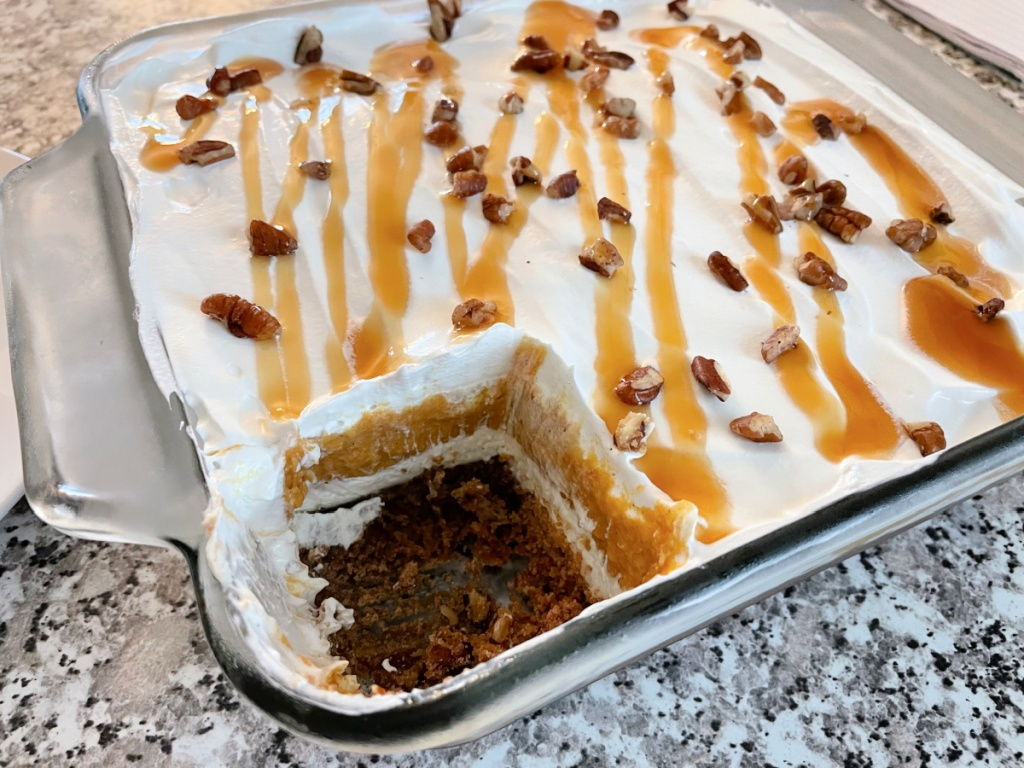 pumpkin dessert in a pan