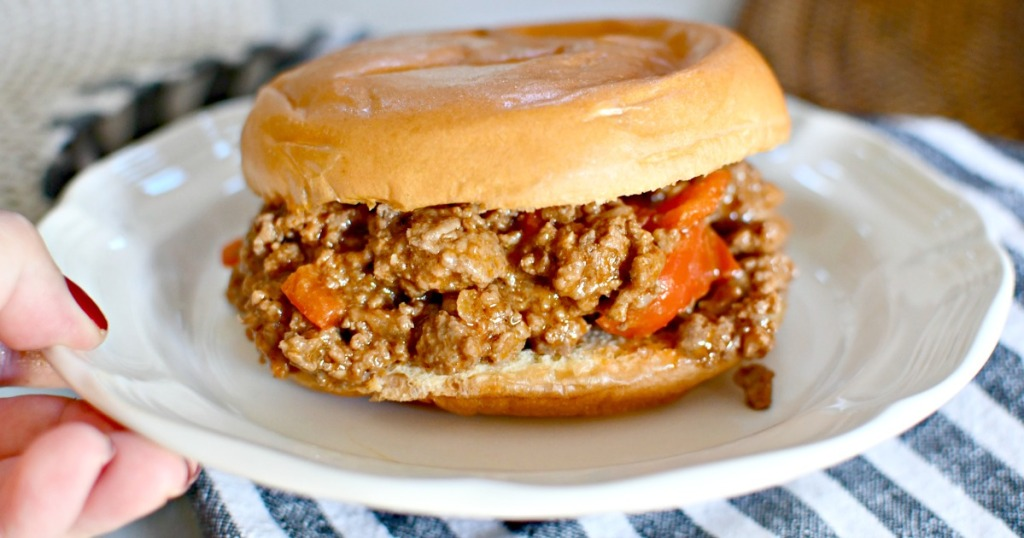 sloppy joe sandwich on a plate with bun