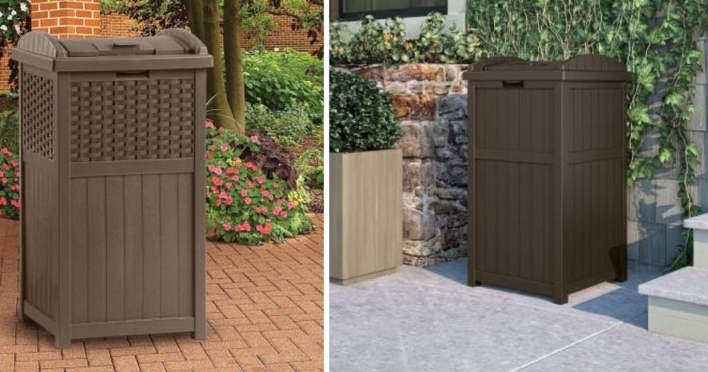 Home Depot Suncast Outdoor Trash Hideaway Only 29 99 Shipped Love These Cans