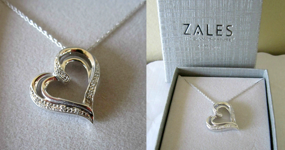 Zales Diamond Accent Tilted Heart Pendant In Sterling