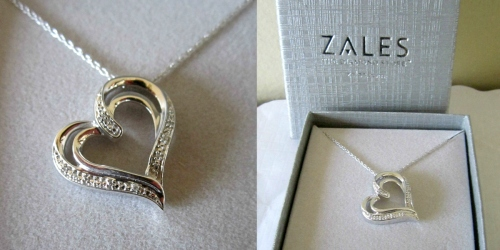 Zales Diamond Accent Tilted Heart Pendant in Sterling Silver Only $24.99 Shipped (Regularly $99)