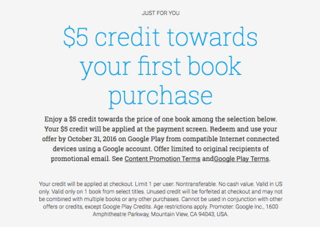Google Play: Possible FREE $5 Credit Towards First eBook Purchase