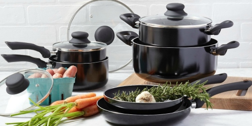 Highly Rated AmazonBasics 10-Piece Nonstick Cookware Set Only $21.72 (Dishwasher Safe!)