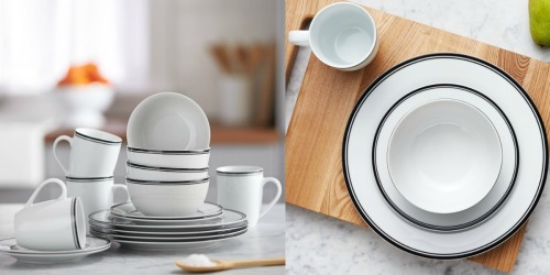 AmazonBasics 16-Piece Cafe Stripe Dinnerware Set Only $20.33 (Great for the Holidays)