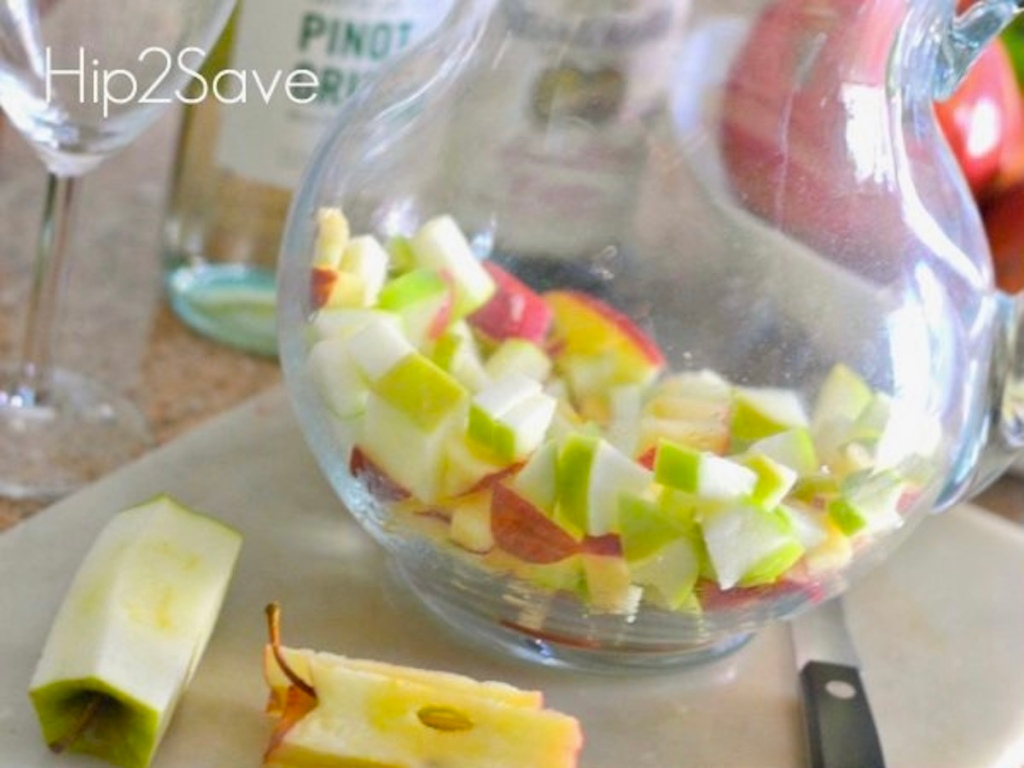 chopped apples in pitcher