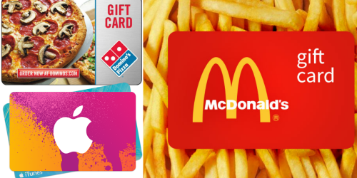 Discounted Gift Cards (Save on Domino's Pizza, McDonald's, Lowe's, iTunes & More)
