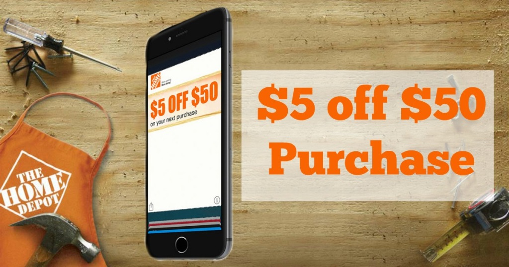 brand new a68e4 1d61c Home Depot: $5 Off $50 In-Store Purchase Coupon (Sign Up for Text ...