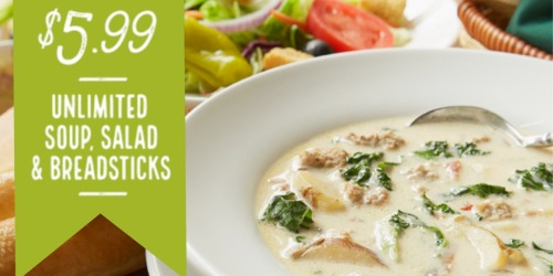 Olive Garden: Unlimited Soup, Salad and Breadsticks ONLY $5.99 (Until 4PM Through 10/21)