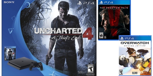Playstation 4 Unchartered Slim Console Bundle + Overwatch + Metal Gear Solid V $309.99 Shipped