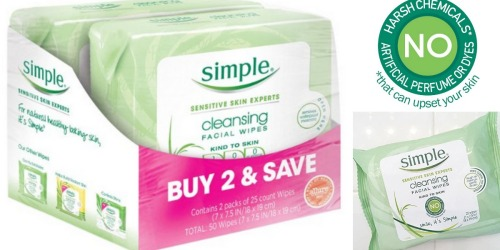 Amazon: Simple Cleansing Facial Wipes 2-Pack Just $5.49 Shipped (Only $2.75 Each!)