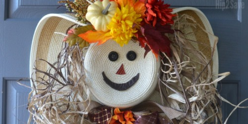 DIY Scarecrow Wreath from a Straw Hat