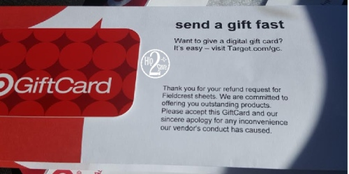 Did YOU Request Fieldcrest Sheet Refund from Target? If So, Check Your Mailbox!