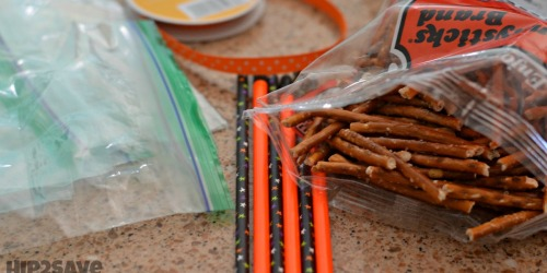 Create these CUTE Broomsticks from Pretzels (Easy Non-Candy Halloween Snack)
