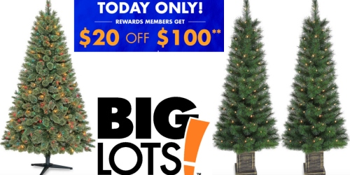 Big Lots: $20 Off $100 Purchase = 6′ Pre-Lit Christmas Tree AND 2 Christmas Urn Trees Just $80 Shipped