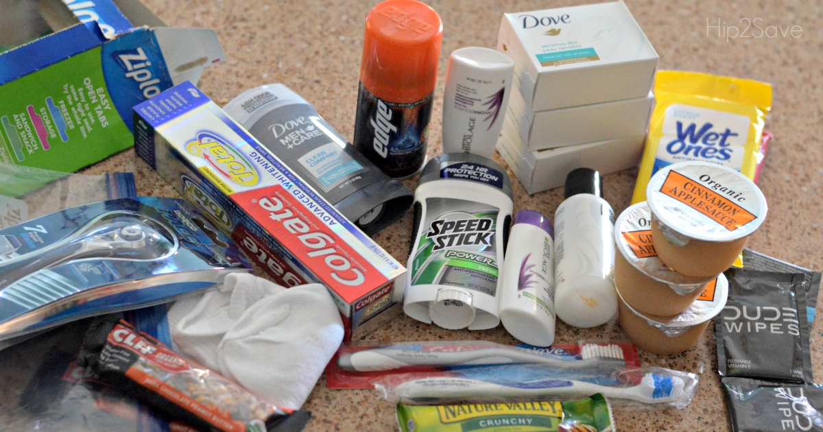 making blessing bags with toiletries