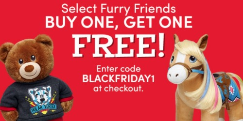 Build-A-Bear Black Friday Sale: Buy 1 Get 1 FREE Furry Friends AND $8 Bears