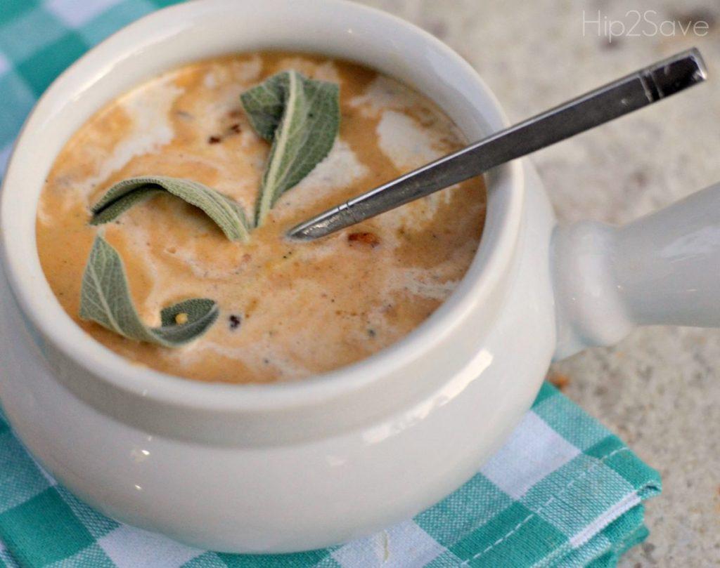 fall soup recipe butternut squash soup in white bowl