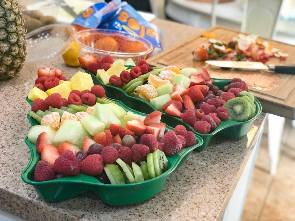 Fruit in tree-shaped tray