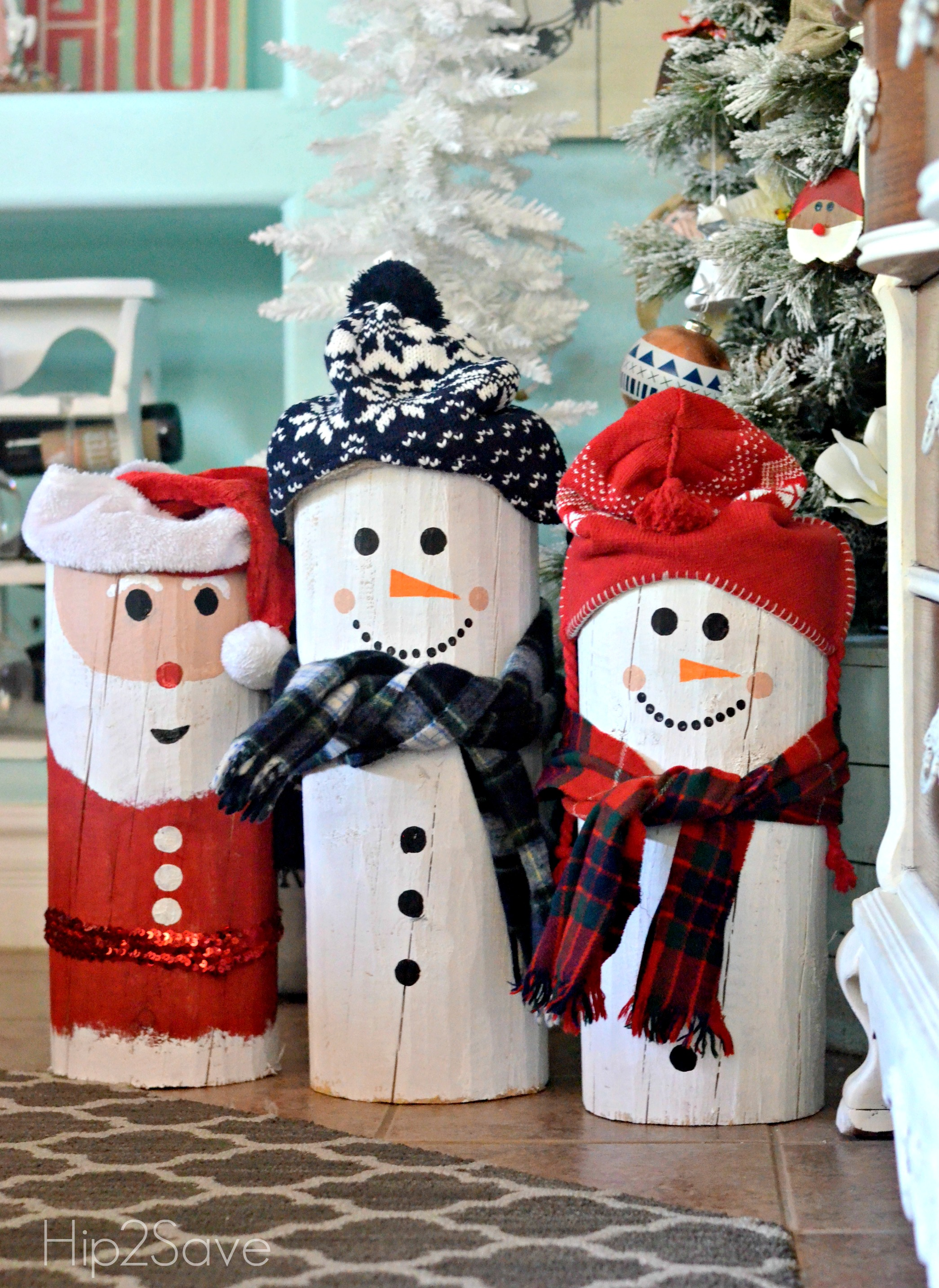diy-santa-snowman-painted-logs-hip2save-com