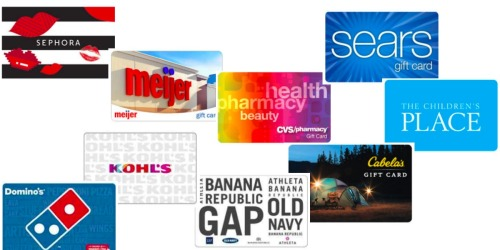 Up to 20% Off Select Gift Cards (Save on Sephora, Kohl's, Meijer, Gap, Sears & More)