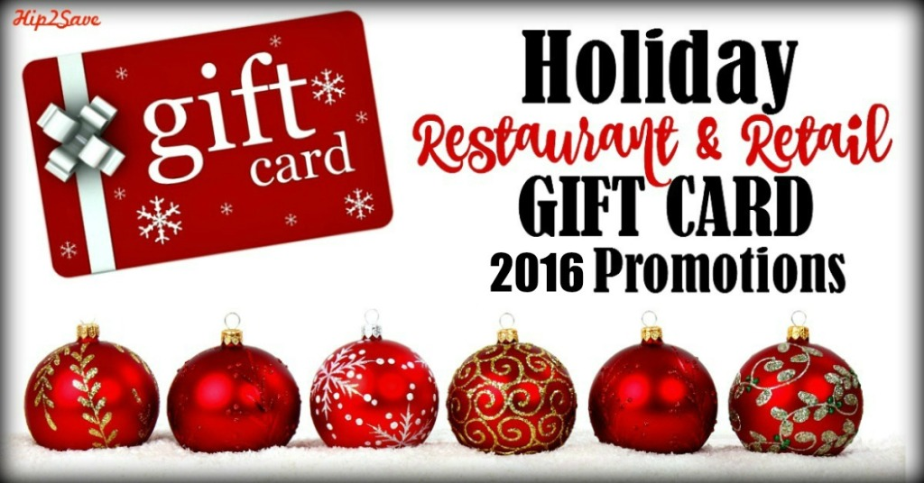 2016 Holiday Restaurant Retail Gift Card Promotions Hip2save