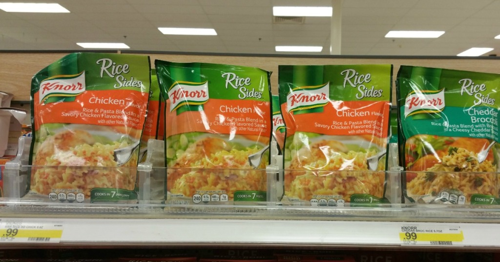 knorr creamy chicken rice sides on a store shelf