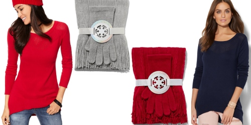 New York & Company: Free Shipping + $5 Scarf & Glove Gift Sets, $10 Tunic Sweaters + More