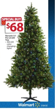 Walmart Pre Lit 7 5 Norwich Spruce Christmas Tree W Color Changing