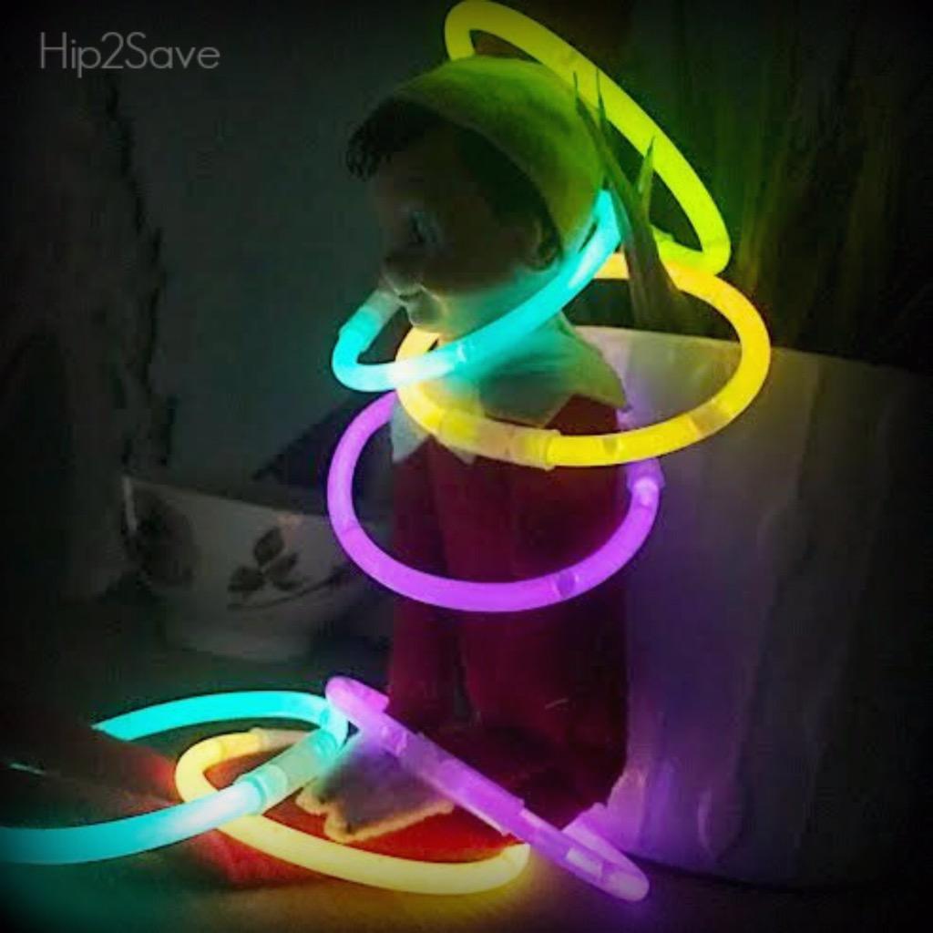 elf on the shelf with glow sticks