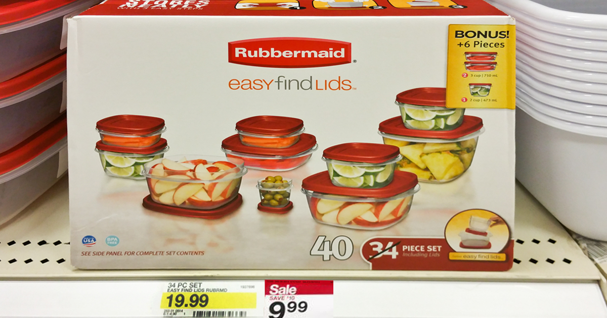 Target: Rubbermaid Easy Find Lids 34-40 Piece Set ONLY $6